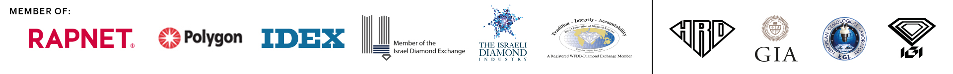 Members Of Logos: Rapnet, Polygon, IDEX, Israeli Diamond Exchange (IDE), Israeli Diamond Institute (IDI), World Federation of Diamond Bourses (WFDB), HRD, GIA, EGL, IGI