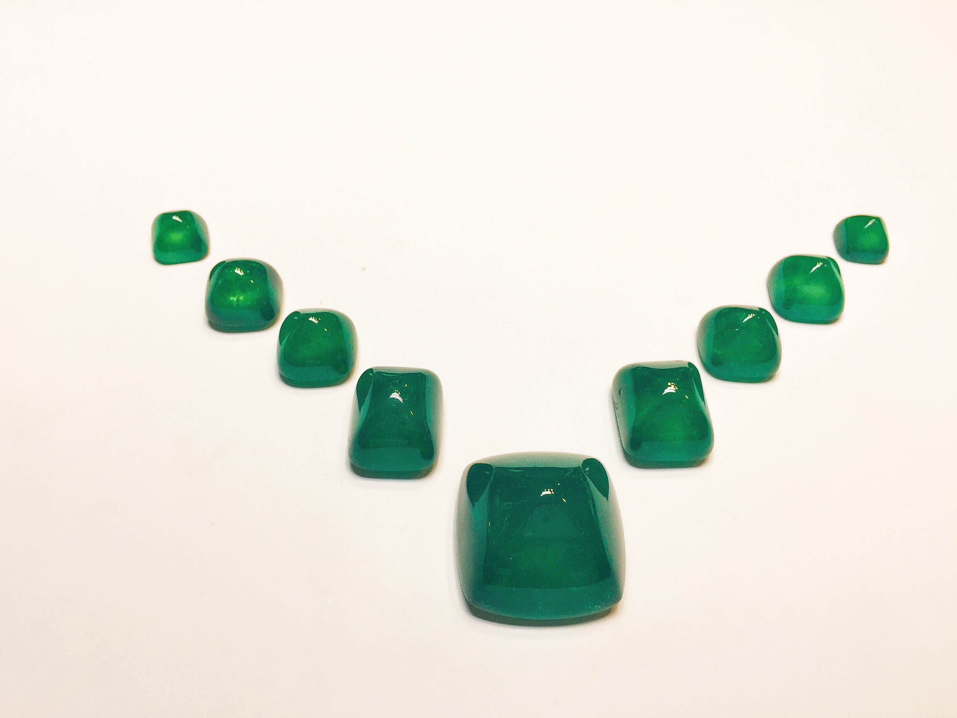 One-of-a-Kind Set of 9 Sugarloaf Colombian Emeralds totaling 378ct